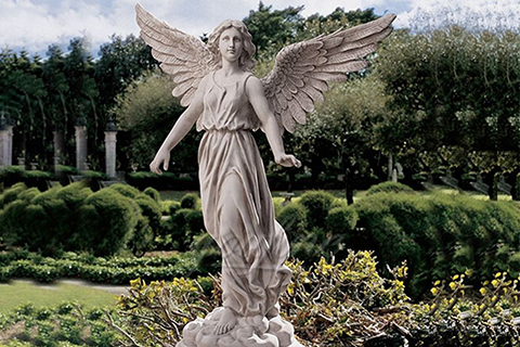 Outdoor big marble angle statues with wings