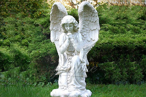 Life size hand carved kneeling angel marble statues with wings (2)