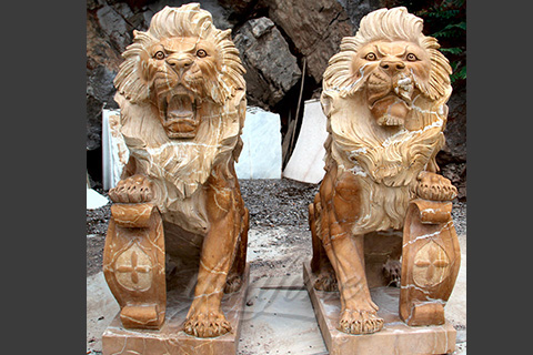 Hand Carved Natural Marble lion statues
