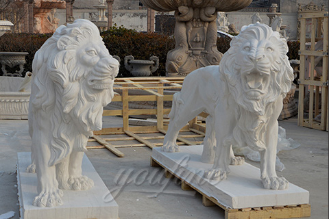Hand Carved White Marble lion statues for sale