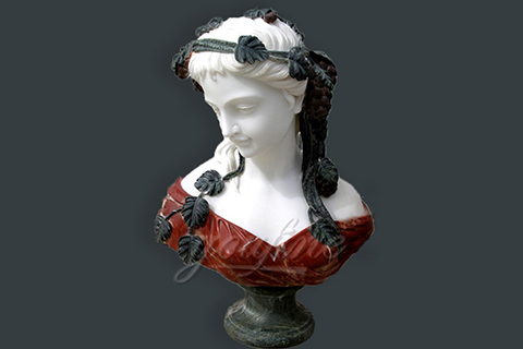 Hand carved marble female bust for indoor