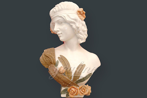 Hand carved decoration marble lady bust statue