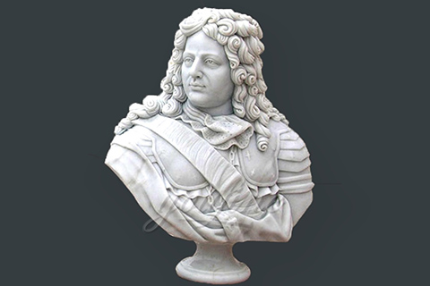 Hand carved marble bust statue of colonial manv