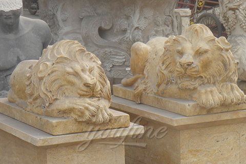 Decorative garden outdoor marble flying lion statues