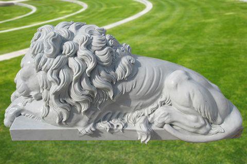Decorative garden outdoor marble sleeping lion sculpture (3)