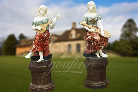 Life size garden marble female sculpture with instrument