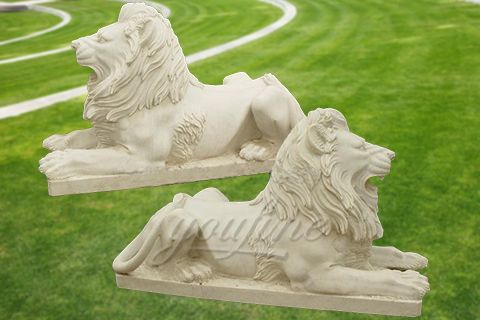 Natural carved outdoor marble lion statues