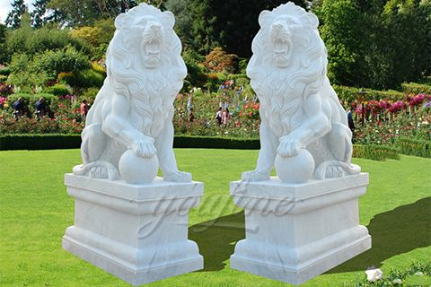 Outdoor Garden Stone Lion Statues For Sale