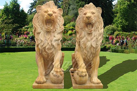 Outdoor hand carved life size lion statue