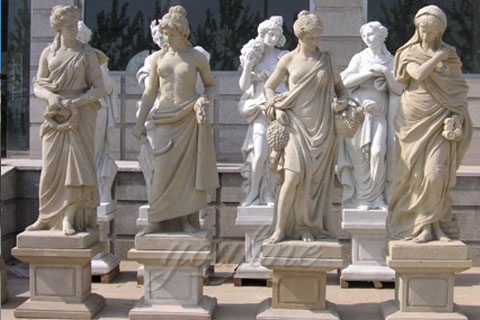 Antique White Marble Statues Four Seasons For Hotel on Sale