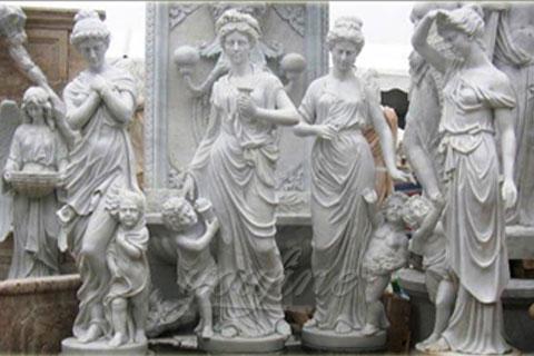 Cheap garden white marble god statue of four season statue design