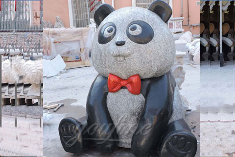 Customized Life Size Multi Color Granite Panda And Koalas With Wrought Brass Bow Knot Sculpture for Australian clients(3)