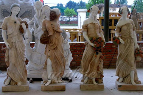 Customized Service Four Season Ladies natural marble statue for garden decor