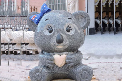 Customized life size Multi color Granite Panda and Koalas with wrought brass bow knot sculpture for Australian clients(1)