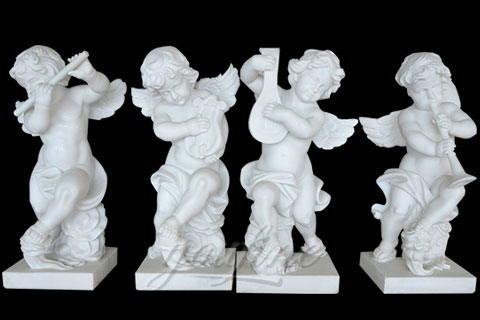 Decorative White Four Baby Angel Sculpture Modern Sculpture