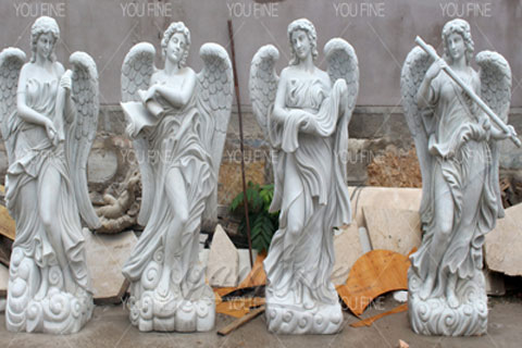 Garden Hand Carved Marble Large Angel Four Season Statue for Sale