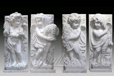 Hand Carved Life Size Outdoor Marble Four baby angel Garden Statues