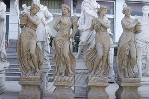 Hand Carved white Marble Four Season Ladies outside