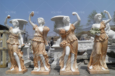 Outdoor Decorative White Marble Four Season God Statue for Sale