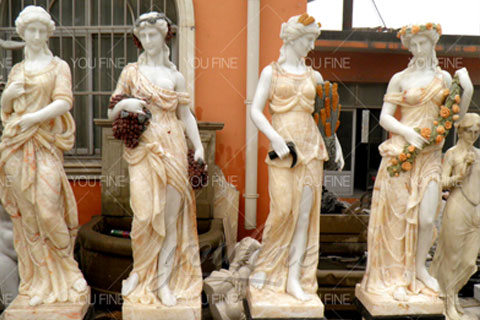Outdoor life size marble four season garden statues for decor