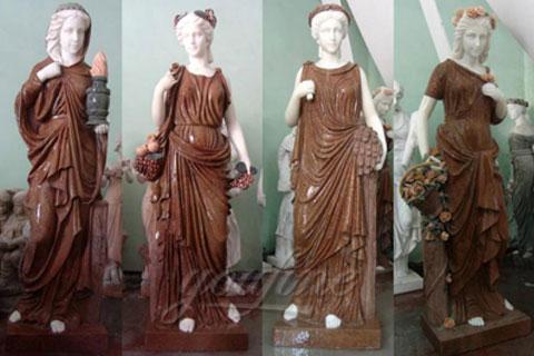Western Style Four Season Women Ladies marble stone sculptures
