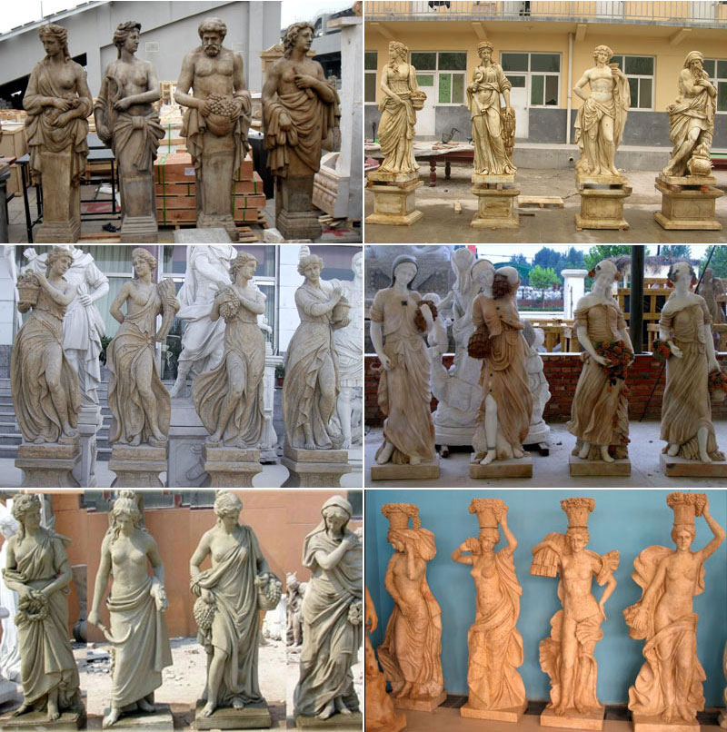 elegant four lady statues