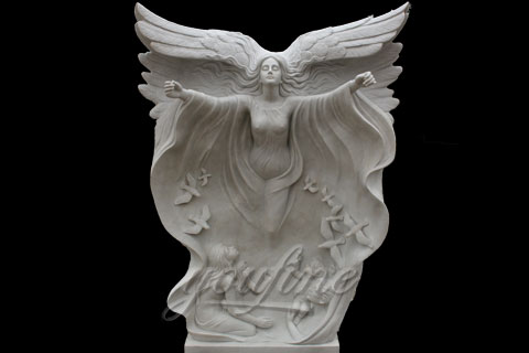 High Quality White Marble Angel flying Girl Statues for decoration