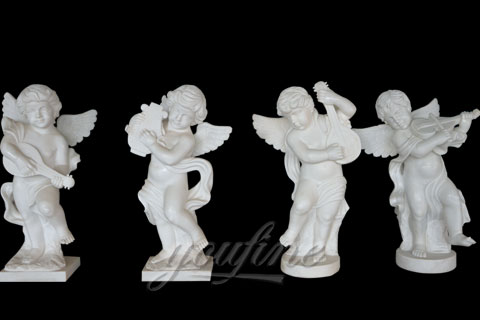Natural Garden White Stone Little Angel Boys statues for decoration